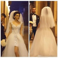 Wholesale lace overlay dress train resale online - 2019 Sheer Long Sleeves Lace Appliques Sheath Wedding Dresses Tulle Overlay Train Long Bridal Gowns Formal Vestidos De Mariee Middle East