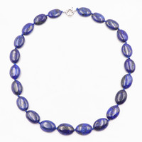 perles de lapis ovales achat en gros de-Charme Femmes Chaîne Collier Pierre Naturelle Ovale Lapis Lazuli 13x18mm Perles Pendentif Déclaration Choker Colliers Bijoux 18