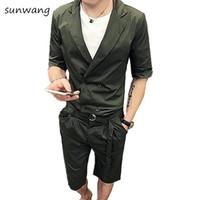 брюки с двойными ремнями оптовых-Summer Casual Dress Unique Designer Slim Fit Mens Double Breasted Suits 2 Pcs Short Sets Blazer Pants Green Men Suit With Belt