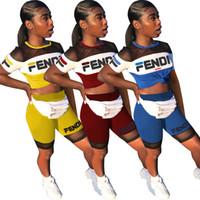 net gömlek kızları toptan satış-Yaz Kadın F Mektup Baskı Şort Set eşofman Yuvarlak Boyun net T-Shirt + Şort kızlar İki Adet suit Jogger Kıyafetleri spor 2019 A42303