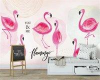 pembe duvar kağıdı odası toptan satış-Duvar kağıdı ev dekor Nordic pembe el boyalı flamingo duvar kağıdı yatak odası çocuk odası davranış Duvar 3d için