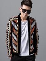 kulüp blazers toptan satış-Moda Erkek Blazer Ceket Renkli Nakış Takım Elbise Blazer Masculino Erkek Hombre Sahne Parti Kulübü Tasarımcı Blazers 2018