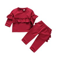 ingrosso abbigliamento delle ragazze fornitore-Kids Girl dropshipping abbigliamento per bambini Abbigliamento 2 pezzi set colore solido Outfits Abbigliamento casual per bambini fornitori di abbigliamento per bambini cina