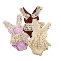 Wholesale summer clothes for newborn girl resale online - Infant Baby Newborn Girl Clothes Cotton and Linen Lace Edge Backless Waist girl Baby Bodysuit Sling Crawler Baby romper clothing for M