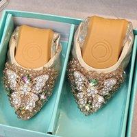 zapatos plegables mujeres al por mayor-Moda para mujer zapatos de los planos de las mujeres de primavera y verano plegable zapatillas de ballet punta estrecha Rhinestone de deslizamiento en los zapatos de los holgazanes ocasional Mujer