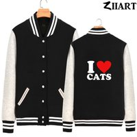 fleece mulheres jaqueta de beisebol venda por atacado-Eu amo gatos casal roupas meninas mulher completa Zip outono inverno velo jaquetas de beisebol ZIIART