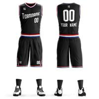 camisetas de baloncesto juvenil al por mayor-Venta al por mayor Custom black \ white Uniforme de baloncesto diy cualquier LOGO Número Equipo Jerseys Shorts Set Hombres mujeres Jóvenes niños Ropa de estudiante Sportswe