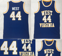 camiseta de baloncesto del oeste al por mayor-Ncaa West Virginia Mountaineers 44 Jerry West College Jerseys Retro University usa baloncesto cosido Vintage Jersey S-XXL envío de la gota