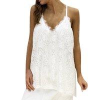 ingrosso merletto bianco cami xl-Taglie forti estate sexy bianco canotta donne festival pizzo senza maniche top donne vestiti 2019 streetwear cami top per il 2019