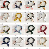 Wholesale hair tie band ears for sale - Group buy 40 colors Korean print headband sweet lovely wave point hair accessories printed smiley bow headband change hair band rabbit ears scarf