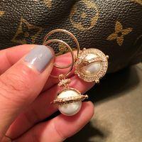 doğal 14k elmas toptan satış-Kadın Bağbozumu Klasik Inci Küpe Moda Doğal Inci Küpe 14 K Kakma High-end İthalat Elmas Küpe sevgililer Günü Yüzük