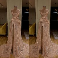 hermoso encaje uno mangas vestidos al por mayor-2020 nueva llegada del tren largo de oro de la sirena vestidos de noche de alta Dividir el vestido del desfile formal Prom Vestidos robe de soirée Abendkleider