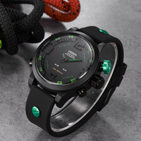 Wholesale mens digital lcd watches resale online - Original digital quartz mens LCD Watch Date Day m waterproof watch Rubber Band fashion green army dive Wristwatches