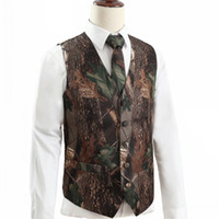2021 New Camo Groom Vests Hunter Country Style Wedding Realtree Spring Camouflage Mens Attire Vest 2 piece set (Vest+Tie) Custom Made