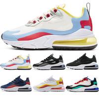 erkek optik toptan satış-Nike Air Max 270 React Erkek Kadın Koşu Ayakkabıları Çekirdek Üçlü Siyah Beyaz Buğday Gri Oreo Kırmızı Ucuz Run Spor Sneaker Boyutu 5.5-11