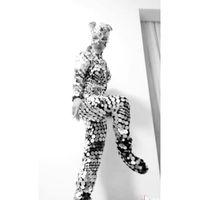 trajes de dança de lantejoulas venda por atacado-Máscara de gato espelho bodysuit Modelo traje Passarela desgaste da dança de palco Espelho Redondo Jumpsuit Lantejoula Luz One-Piece Outfit
