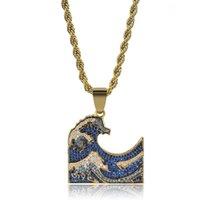 волны алмазов оптовых-Мужские 18 К Золото Полный Бриллиант Blue Sea Waves Кулон Ожерелье Твист Цепи Многоцветный CZ Цирконий Хип-Хоп Рэппер Любителей Ювелирные Подарки для Мальчиков