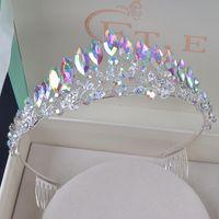 einfache tiara krone großhandel-Zarte Vintage Silberhochzeit Crown Alloy Bridal Tiara Barock einfache Prinzessin Crown Strass halbrunde Tiara Crown Kamm