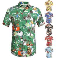ключевой ошейник оптовых-2019 New Style Hot Sales Men Casual Printed Key Bottom Short Shirt Hawaiian Top Shirt High Quality Comfortable
