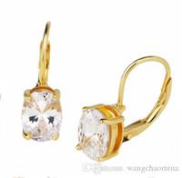 ingrosso ottone natale-Prezzo più conveniente 14k placcatura in oro leva indietro clip cubic zirconia orecchini gioielli in ottone per le donne regalo di Natale