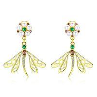 925 silberne libellenohrringe großhandel-Echt 925 Sterling Silber Gold Farbe Zarte Perle Libelle Ohrringe Für Frauen Modeschmuck Mädchen Geschenke Bse067 Bamoer