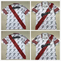 Wholesale customized beds for sale - Group buy 1996 River bed Retro home PRATTO Soccer Jersey River Plate white QUINTERO G MARTINEZ Classic vintage version Customized footba Shirt