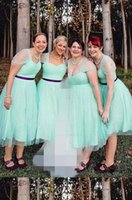 Discount turquoise bridesmaids dresses sleeves Turquoise Tulle Tea Length Bridesmaid Dresses Sweetheart Cap Sleeve Pleated Purple Ribbon Plus Size Party Dress Wedding Guests Maid Of Honor