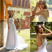 Wholesale tassel bead wedding dress for sale - Group buy 2020 Bohemian Bridal Dresses Halter Neck Beaded Tassel Sequins Sleeveless Wedding Dress Backless Ruffle Sweep Train Robes De Mariée