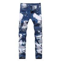 jeans duplo com zíper venda por atacado-Novos 2019 calças de brim ciclismo estiramento dos homens de abastecimento de cultivar a moralidade desempenham um duplo cor buraco zipper usar calças brancas