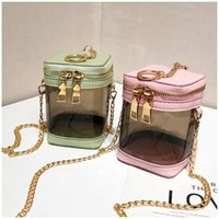 Wholesale lipstick for kids for sale - Group buy 30PCS Fashion Korean New Mini Transparent Jelly Color Bucket Lipstick Purese Messenger Bags For Kids Baby Girls