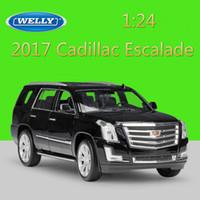 simulador de juguete al por mayor-Welly 1:24 Diecast Modelo de Coche Simulador 2017 Cadillac Escalade Suv Metal Toy Cars Juguetes Para Niños Colección de Regalos Decoración J190525