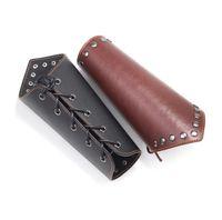 pulsera de imitación china al por mayor-2 Unids / lote Cosplay Atrezzo Faux Leather Wide Bracer Lace Up Arm Armor Cuff Cross String Steampunk Medieval Gauntlet Wristband