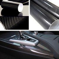 ingrosso adesivo avvolgente nero lucido-New 5D Ultra Gloss lucido nero in fibra di carbonio Vinyl Wrap Sticker Decal 12 * 60 pollici