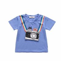 meninas do bebê rosa camisetas venda por atacado-2019 Menino Da Criança Camisas Cor Azul Rosa Bolsos Design Doce Arco Íris Padrão Bonito Do Bebê Das Meninas Dos Meninos Tees Y190516