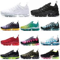 siyah limon toptan satış-NIKE AIR VAPORMAX PLUS TN Artı Koşu Ayakkabı Kadın Erkek Üçlü Siyah Beyaz Obsidyen LEMON LIME LIME SPIRIT TEAL Erkek Eğitmenler Spor Sneakers 36-45