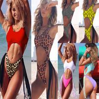 Wholesale one piece swimsuit resale online - Leopard bikini One piece Swimsuit String Sexy High Cut Bikini Push up Swimwear Tassel One piece Suits MMA1774