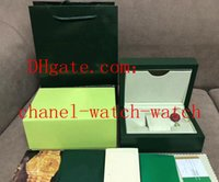 Wholesale womens watches gift boxes resale online - Mens Womens Green Watch Box Papers Card Purse Gift Boxes Handbag Mechanical Quartz Watches Boxs