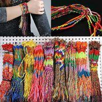 freundschaft armband flechtschnur großhandel-50pcs Wholesale GROSSE Schmucksachen verlost Buntes Flechten-Freundschafts-Schnurstrang-Armband