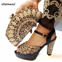 Wholesale italian shoes bags sets resale online - High Quality Black Color African Designer Shoes And Bag Set To Match Italian Party Shoes With Matching Bags Set