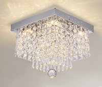Wholesale high power led g4 resale online - Modern Square K9 Crystal Chandeliers G4 Led Lamps High Power Led Lights Crystal Chandelier Led Lustre Chandeliers LLFA