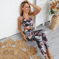 flor traje deportivo de las mujeres al por mayor-GXQIL Imprimir Sport Set Yoga empuja hacia arriba la ropa del entrenamiento para las mujeres 2019 de la flor Mujer Ropa de deporte Dry Fit fitness Traje Mujer sujetador Kit M