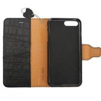 iphone mais 5.5 flip venda por atacado-Ocube caso de couro genuíno crocodilo padrão folio flip carteira capa case para iphone 7 plus / 8 plus 5.5 polegadas