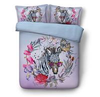 king size blumen bettdecken großhandel-Zebra Bettwäsche Set 3D Tröster Sets Floral Quilt Bettbezug Bettlaken Leinen California King Queen Size Full Twin 5PCS