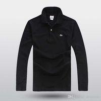 polo d'été à manches longues achat en gros de-2019 printemps été hommes chemise à manches longues chemises occasionnels Designer shirt chemises crocodile hommes mode polo chemises