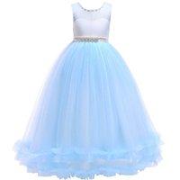 бисероплетение свадебное платье принцессы оптовых-Пухлые сетки платье принцессы свадебное платье бисероплетение юбка шею рукавов кружева лук пузырь юбка девушка милый маленький платье 57