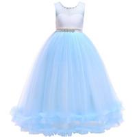 boncuk prenses gelinlik toptan satış-Kabarık Örgü Prenses Elbise Gelinlik Boncuk Etek Yuvarlak Boyun Kolsuz Dantel Yay kabarcık Etek Kız Sevimli Küçük Elbise 57