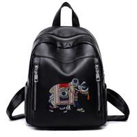 вышивка слона оптовых-Женщины кожа вышивка рюкзак женщины слон вышивка рюкзаки для подростков женские школьные сумки мода рюкзак дорожные сумки