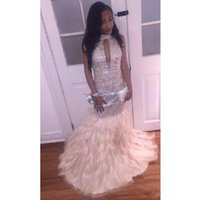 Wholesale white feather rhinestone prom dress for sale - Group buy Luxury Sequined Feathers Prom Dresses Long Rhinestones Beaded Formal Dresses Evening Wear With High Neck Arabic Party Pageant Gowns