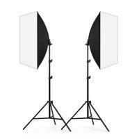 ingrosso corredi leggeri softbox fotografici-Fotografia Kit di illuminazione continua 2x 50x70cm Softbox Soft Box + 2x 45W Lampada + 2x 2m Light Stand per ritrattista Fotografia Photo Studio