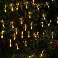 огни для наружных украшений оптовых-Ёлочные Декоры 5m 20 СИД солнечного свет шнура Water Drop Форма лампа Xmas Tree Украшение Открытый двор сад украшение